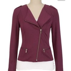 Wine burgundy Moto zip jacket NWOT Gorgeous deep burgundy wine (with just a slight hue of purple) Moto jacket blazer with zipper. Never worn, stored for some time and now it's time for someone to love it. Maurices Jackets & Coats Blazers