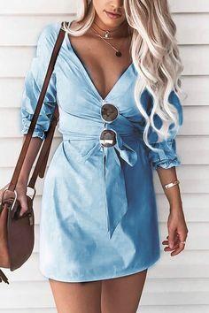 Light Blue Self-tie Design V-neck 3/4 Length Sleeves Dress