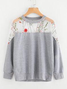 b30b348158ef Romwe Embroidery Mesh Paneled Marled Sweatshirt Sweater Jacket