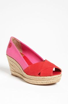 Tory Burch Pink & Red Wedge Espadrille