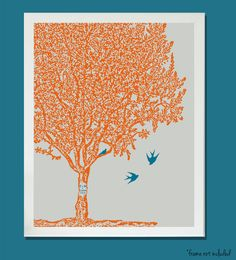 Nursery Art Family tree birds baby sister brother choose colors personalized initials 8x10. $17.00, via Etsy.