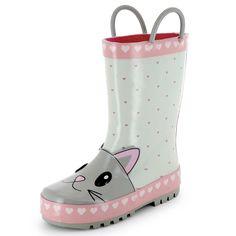 Bottes de pluie tête de chat                                                                                         gris/rose Petite fille