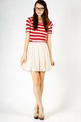 Autumn Pleated Skirt in Cream