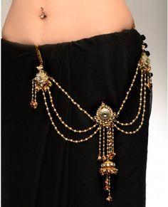 Kundan Stone and Pearl Encrusted Sari Belt with Jhumki Drop