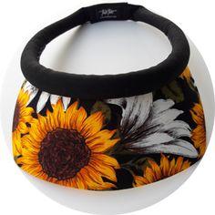Square Brim Sunflower Print w/Black Band & Velcro Closure visor for women