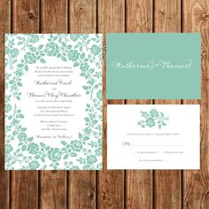 Wedding Invitations Mint Floral Vintage Elegant by BettyLuDesigns
