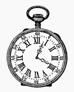 Pocket Watch Black and White Ink Drawing vintage