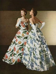 1950s Christian Dior floral gowns #vintage