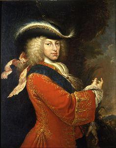 Miguel Jacinto Meléndez (1679-1734) Philip V in Hunting Costume,Español:El lienzo representa al rey Felipe V de España (1683- 1746),vestido en traje de caza y con una casaca roja.1712,oil on canvas,103х83 cm. Museum Cerralbo.