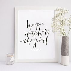 Hebrews 6:19 Hope Wall Quote Scripture Print by ThePaperMountainCo
