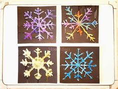 Salt painting - colorful ice crystals from salt - MontiMinis - Christina' Board Diy For Kids, Crafts For Kids, Salt Painting, Ice Crystals, Diy And Crafts, Activities, Holiday Decor, Christmas, Montessori