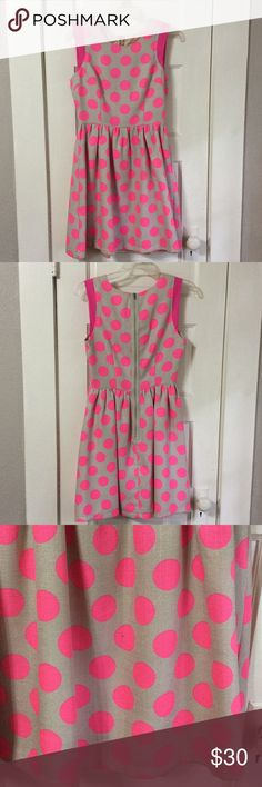 """Hot pink polka dot dress Fit and flare dress with hot pink polka dots. Exposed back zipper. Laid flat, bust measures 16"""", waist measures 13"""". ModCloth Dresses"""