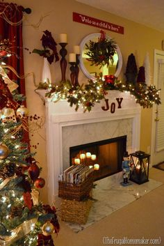 mantle ideas for christmas | Christmas mantel (+ a new Christmas craft) | The Frugal Homemaker