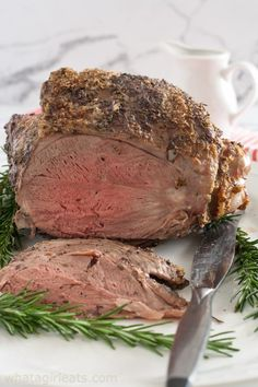 Leg of Lamb with Fresh Mint Sauce is studded with garlic and roasted with rosemary, salt and pepper. It's the perfect Easter meal or Sunday supper. Aussie Leg of Lamb with Fresh Mint Sauce Boneless Lamb Recipe, Boneless Lamb Roast, Roast Lamb Leg, Supper Recipes, Lamb Recipes, Veggie Recipes, Seafood Recipes, Cooking Recipes, Mint Jelly