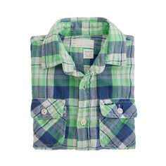Boys' vintage camp flannel shirt in fleetwood plaid, pinned by www.katherinechambers.com