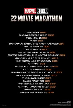 Marvel Marathon 2019 Marvel and Disney will be holding a theatrical retrospect of the entire MCU in the lead-up to 'Avengers: Endgame' in theaters this month. Marvel Watch Order, Avengers Movies In Order, Marvel Movies List, Netflix Movie List, Movie To Watch List, Good Movies To Watch, Film Watch, Movies 2019, Film Marathon