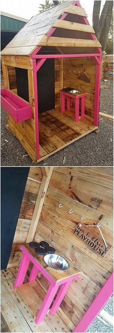 In this awesome creation of the wood pallet playhouse the pallet boards have been arranged in vertical frame just as behind the bed frame that do brings a graceful impact in it. It do features one section of the storage space for seating arrangement purposes for the kids.