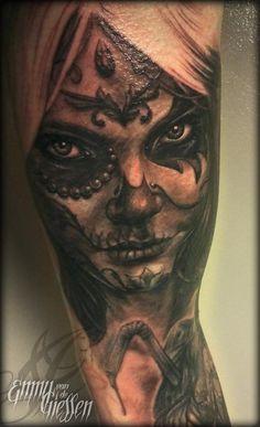 3ef68fffecf85 Emmy - Dia De Los Muertos Chica Off The Map Tattoo, Girl Tattoos, Tatoos