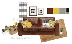 The 36th AVENUE | Living Room Decor | The 36th AVENUE I like the modern color palette. I really love the striped curtains too!