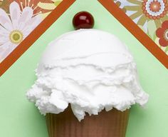 """This looks so real! How to make faux """"ice cream"""" with spackling and a ball of Styrofoam brand foam. CraftsnCoffee.com."""