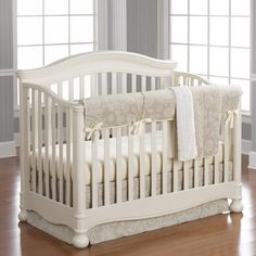 Cloud Linens Bumperless Crib Bedding, Soft taupe and creamy ivory linen baby bedding in a Suzani pattern.  Tranquility!