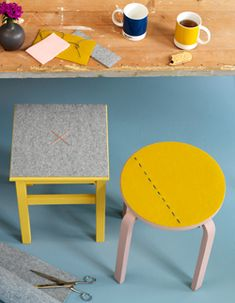#DIY Stool with fabric seat - #101woonideeen.nl - Dutch interior and crafts magazine