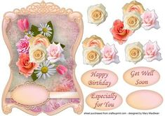 Pastel Roses Fancy Shaped Topper