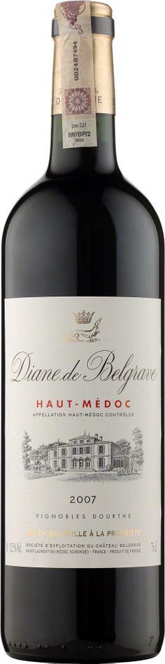 """Diane de Belgrave Haut Medoc A.O.C. Diane de Belgrave to wino z Chateau Belgrave pochodzące z młodszych winorośli. Trunek o intensywnej barwie, ale lżejszy niż """"Grand Vin"""". Ma pełny, owocowy bukiet, delikatnie wyczuwalne taniny kończące się elegancką nutą drewna.  #Bordeaux #Wino #Winezja #HautMedoc"""