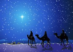 The three wise men Christmas Scenes, Christmas Paper, Blue Christmas, Vintage Christmas, Christmas Holidays, Merry Christmas Wishes, Merry Christmas And Happy New Year, Christmas Greetings, Meaning Of Christmas