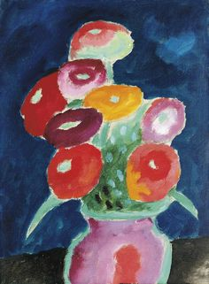 Alexej von Jawlensky (Russian, active in Germany, 1865-1941), Blumen in einer Vase, 1918. Oil on paper, 34.4 x 25.3 cm.