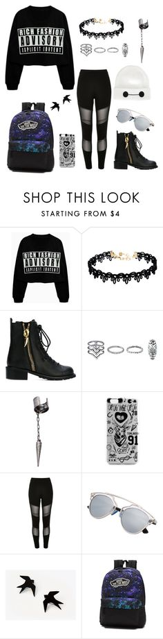 """Badass Outfit"" by draw4me ❤ liked on Polyvore featuring Vanessa Mooney, Giuseppe Zanotti, New Look, Le Mos, River Island, Vans and Disney"