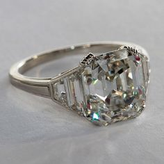 Beautiful Square Emerald Cut Diamond Ring