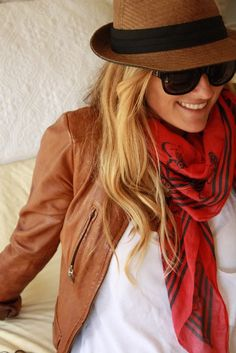 leather jacket, panama hat, cool scarf, white tee