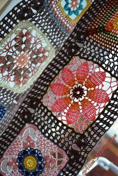 colorful lace crochet square motifs - would make a pretty curtain Crochet Motifs, Crochet Blocks, Crochet Afghans, Crochet Squares, Thread Crochet, Knit Or Crochet, Crochet Doilies, Crochet Flowers, Crochet Stitches