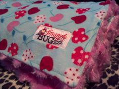 Kaufman Cherries on Tiffany Blue Minky with Pink by SnuggleBugZZZ, $38.00