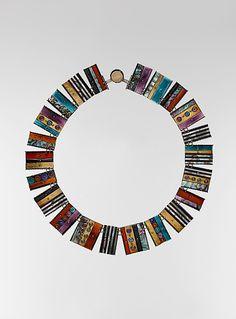 Necklace | Earl Pardon. Sterling silver, 14K gold, enamel & semi precious stones.  1989