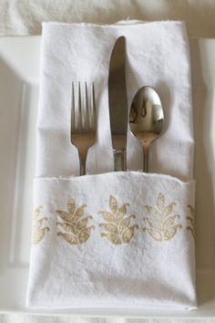 DIY block print wedding napkins with new Fabric Creations soft fabric paint and block stamps