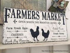 FARMERS MARKET Prepared for you in VINTAGE WHITE with AGED BLACK lettering and graphics. Measures 12 x 24. Ready for hanging with a sawtooth