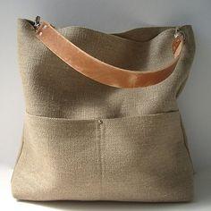 Bucket Bag, Hobo Tote, Jute Bag