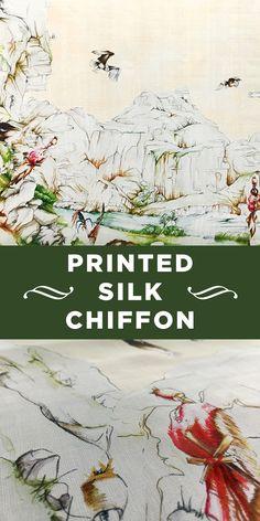 Printed Silk Chiffon Panel with Large Nature Scene