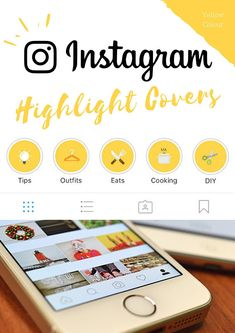 Instagram Stories Highlight Covers in Yellow Background & Multi-Colour Icons - Set of 20