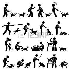 사람이 개 훈련 애완 동물 스틱 그림 픽토그램 아이콘을 재생 스톡 사진
