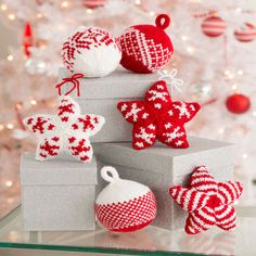 Holiday Stars and Balls Ornaments   Red Heart