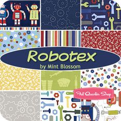 """I like some but not all of these prints. I prefer to avoid """"cutesy"""" but the tools or  nuts/bolts or gears could all be ok even for a grown man's quilt. I think.   Robotex Fat Quarter Bundle Mint Blossom for Northcott Fabrics"""