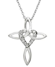 Diamond Pendant, Sterling Silver Diamond Heart Cross (1/10 ct. t.w.) - Necklaces - Jewelry & Watches - Macy's