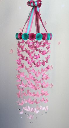Bright Pink And Aqua Butterfly Chandelier,Aqua Butterfly Mobile,Crib Mobile,Baby Mobile,Butterfly chandelier,Nursery Mobile,Baby Girl Mobile