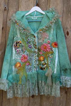 Artisan Spring jacket ornate boho jacket XL linen blend