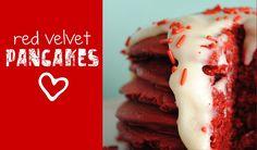 Red Velvet Pancakes & Cream Cheese Frosting - Something Swanky from cake mix Red Velvet Pancakes, Red Velvet Cake Mix, Yummy Treats, Sweet Treats, Yummy Food, Yummy Recipes, Sweet Recipes, Soup Recipes, Just In Case