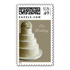 Cream Wedding Cake Stamps This Is Customizable To Put A Personal