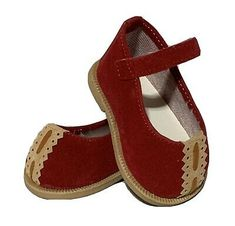 Red Suede Leather Mary Jane Snap Closure Rubber Sole A Logo Fun Tread Shoes | eBay Dolls For Sale, Doll Shoes, Suede Leather, Mary Janes, Closure, Beige, Red, Ebay, Ash Beige